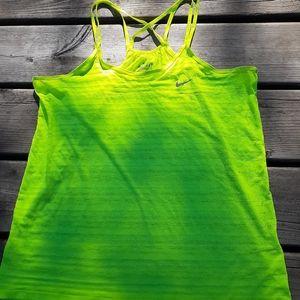 Nike top neon yellow sz S lightweight striped shee